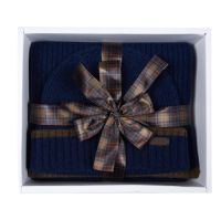 Barbour Cromer Beanie & Scarf Set - Navy -  MAC0337NY911